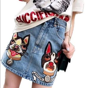 JEAN mini skirt cat dog blue red embellished